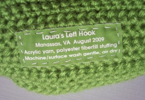Label for a letter pillow