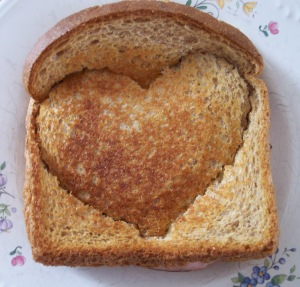 Heart Cookie Cutter into Grilled Sandwich