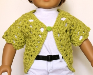One button lime short sleeve sweater for 18 inch dolls