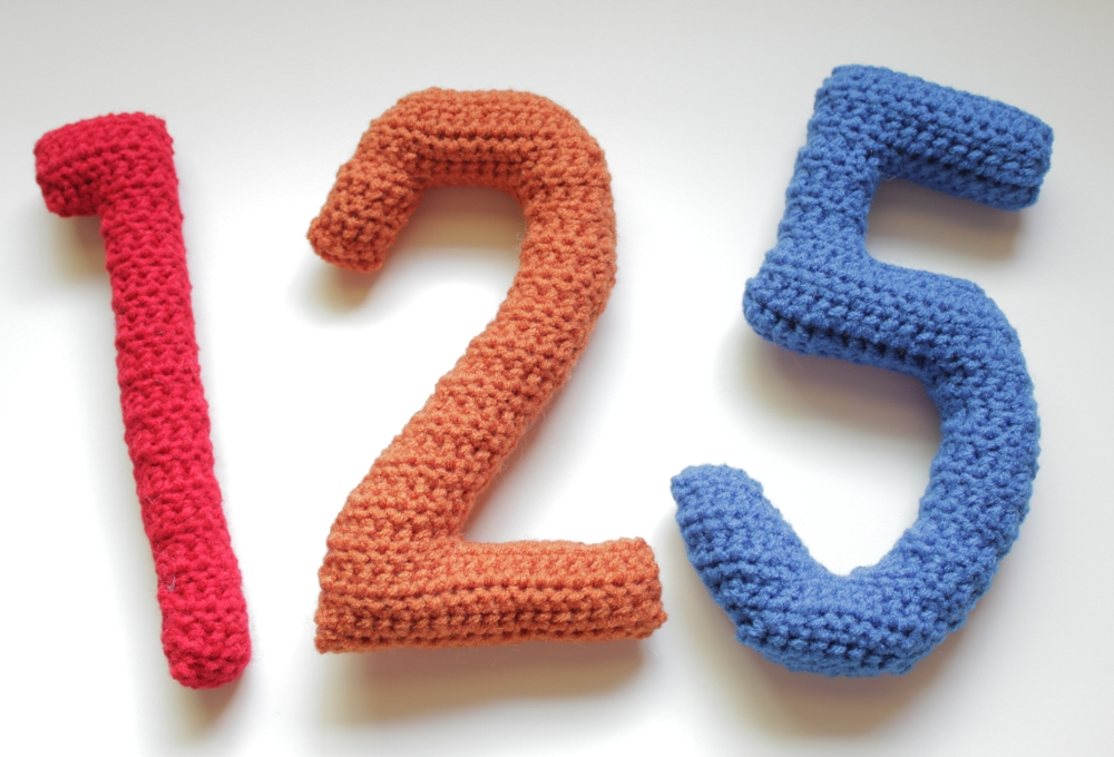 Crocheting Numbers : Crocheted numbers one, two and five