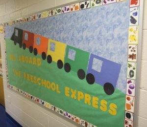 Preschool Train theme bulletin board